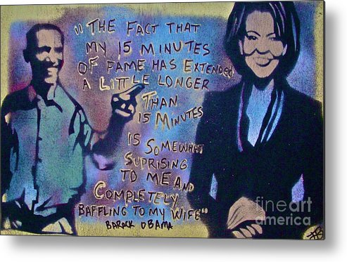 Barack Obama Metal Print featuring the painting Barack With Michelle by Tony B Conscious
