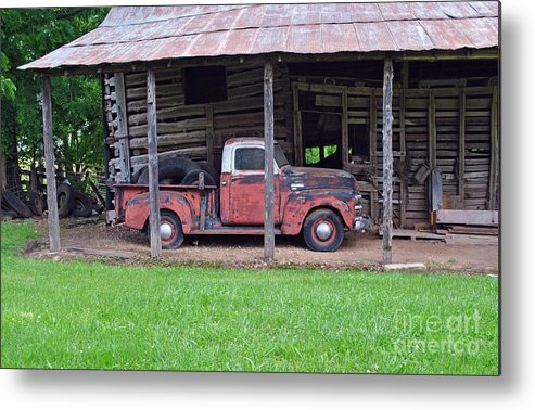 Barns Metal Print featuring the photograph Barn And Truck by Pam Schmitt