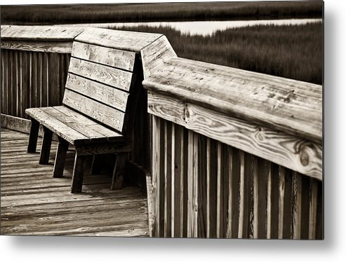 Boardwalk Metal Print featuring the photograph Boardwalk Bench by Marilyn Hunt