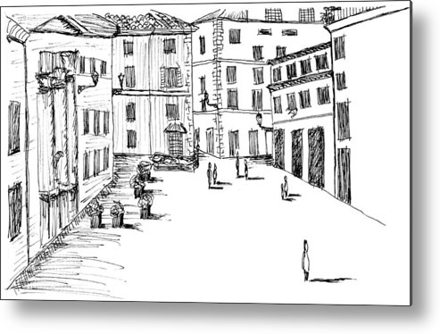Italian Landscape Sketch Metal Print featuring the drawing Day In Piazza Di Campitelli by Elizabeth Thorstenson