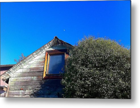 Moon Metal Print featuring the photograph Early Noon Moon by Marcy Wagman