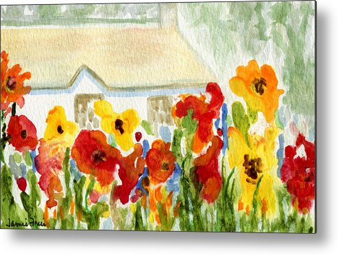 Flowers Metal Print featuring the painting Flower House by Jamie Frier