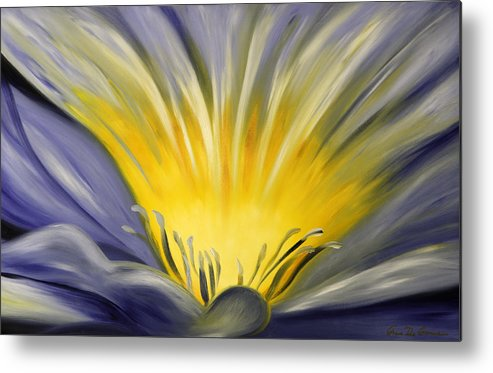 Blue Metal Print featuring the painting From The Heart Of A Flower Blue by Gina De Gorna