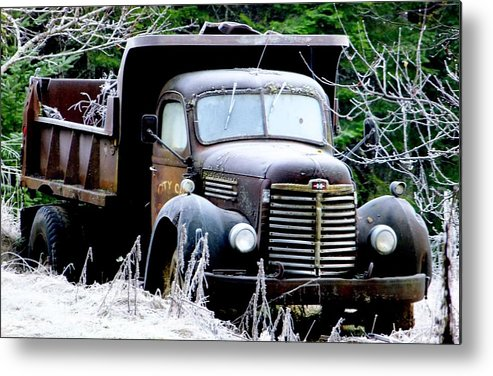 Old Dumptruck. Metal Print featuring the photograph Frosty Morning One. by Will LaVigne