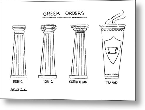 Greek Orders.title.drawing Of 4 Columns: Doric Metal Print featuring the drawing Greek Orders by Stuart Leeds