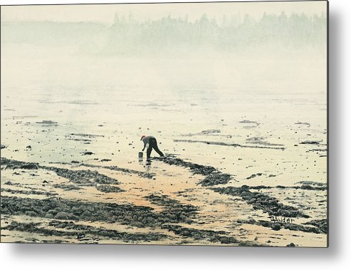 Maine Metal Print featuring the painting Harvesting The Flats by Brent Ander