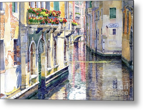 Watercolor Metal Print featuring the painting Italy Venice Midday by Yuriy Shevchuk