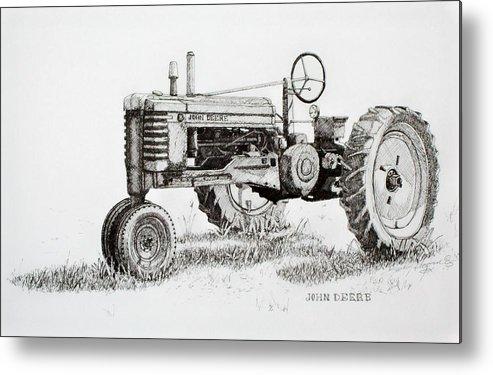 Tractor Metal Print featuring the drawing John Deere Awaiting Restoration by Scott Alcorn