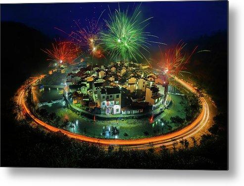 Wuyuan Metal Print featuring the photograph Lantern Festival Celebration by Hua Zhu