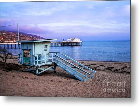 972f8fdb5dc5 Lifeguard Tower And Malibu Beach Pier Metal Print featuring the photograph  Lifeguard Tower And Malibu Beach