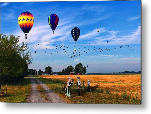 Balloons Metal Print featuring the painting Morning Flight by Tom Schmidt