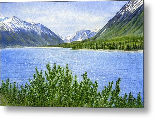 Watercolor Metal Print featuring the painting Morning Sun On Kenai Lake by Sharon Freeman