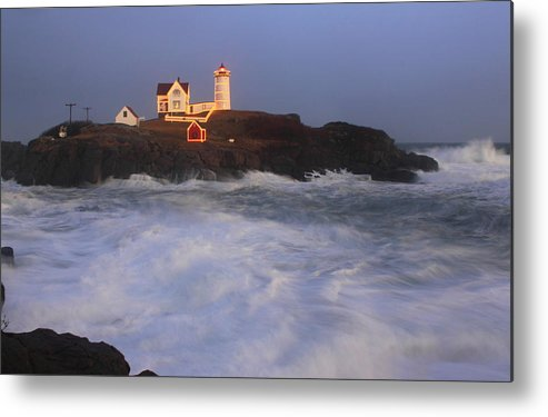 Maine Metal Print featuring the photograph Nubble Lighthouse Holiday Lights And High Surf by John Burk