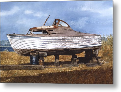 Boats Metal Print featuring the painting Old Salt by Tom Wooldridge