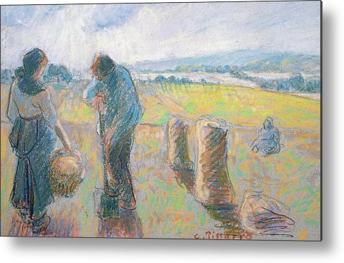 Agriculture Metal Print featuring the pastel Peasants In The Fields by Camille Pissarro