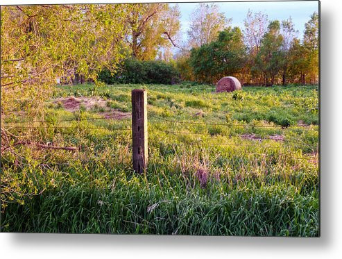 Spring Metal Print featuring the photograph Post And Haybale by Tracy Salava