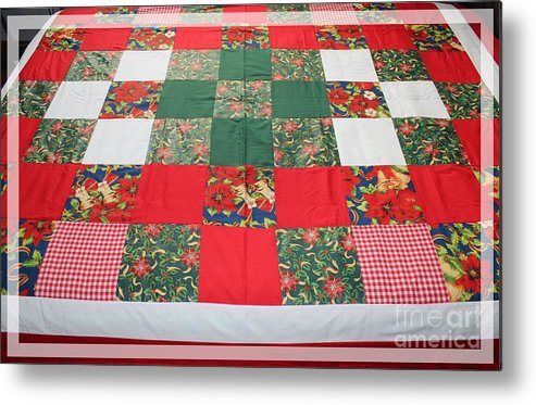 Quilts Metal Print featuring the tapestry - textile Quilt Christmas Blocks by Barbara Griffin