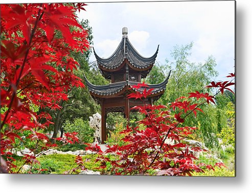 Chinese Garden Metal Print featuring the photograph Red - Chinese Garden With Pagoda And Lake. by Jamie Pham