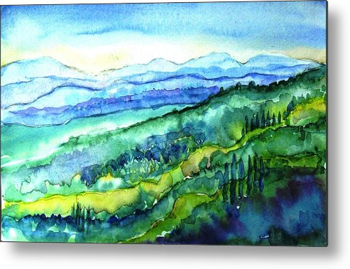Tuscany Metal Print featuring the painting Rolling Tuscan Landscape by Trudi Doyle
