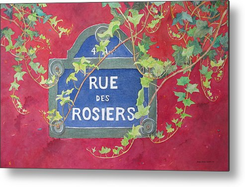 Red Wall Metal Print featuring the painting Rue Des Rosiers In Paris by Mary Ellen Mueller Legault
