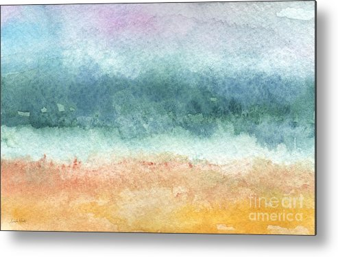 Abstract Metal Print featuring the painting Sand And Sea by Linda Woods
