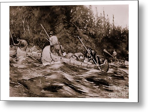 Western Americana Metal Print featuring the drawing Setting Poles by Frederic Remington