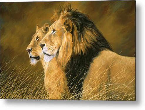Lion Metal Print featuring the painting Side By Side by Lucie Bilodeau