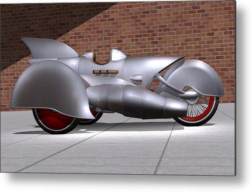 Motorcycle Metal Print featuring the digital art Steam Turbine Trike by Stuart Swartz