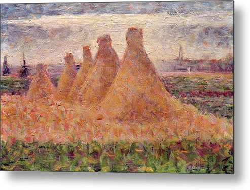 Stacks Metal Print featuring the painting Straw Stacks by Georges Pierre Seurat