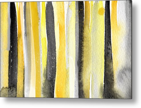 Abstract Yellow And Grey Painting Metal Print featuring the painting Sun And Shadows- Abstract Painting by Linda Woods