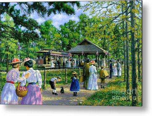 Sunday Picnic Metal Print featuring the painting Sunday Picnic by Michael Swanson