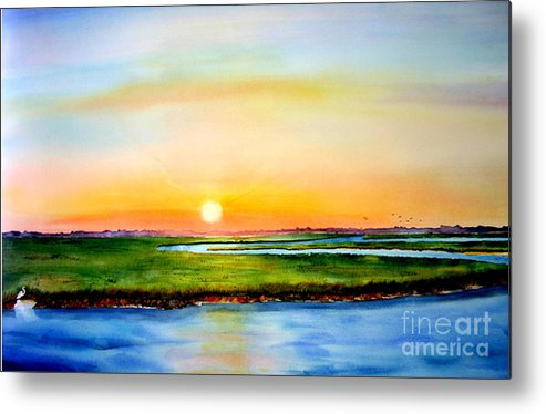 Sunset Metal Print featuring the painting Sunset On The Marsh by Phyllis London