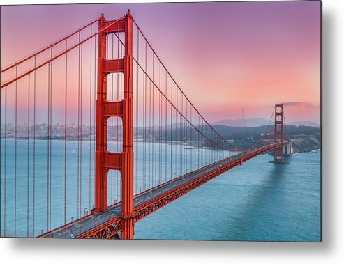 Afternoon Metal Print featuring the photograph Sunset Over The Golden Gate Bridge by Sarit Sotangkur