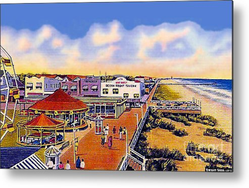 Amusement Parks Metal Print featuring the painting The Amusement Area At Myrtle Beach S C Around 1940 by Dwight Goss