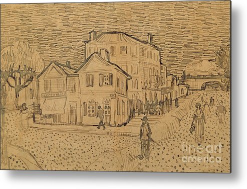 Drawing Metal Print featuring the drawing The Artists House In Arles by Vincent Van Gogh