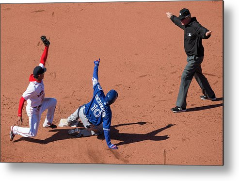People Metal Print featuring the photograph Toronto Blue Jays V Boston Red Sox by Michael Ivins/boston Red Sox