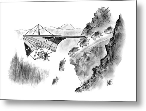 Death Sports Lemmings (lemming Avoids Death By Hang-gliding Off Of Cliff. ) 120271 Jkn John Kane Metal Print featuring the drawing New Yorker January 3rd, 2005 by John Kane