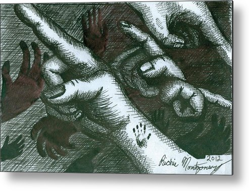 Hands Metal Print featuring the painting Untitled by Richie Montgomery