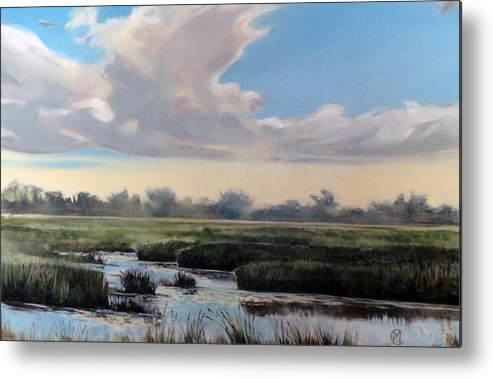 Oil Painting Metal Print featuring the painting Utah County Marsh by Matthew Chatterley
