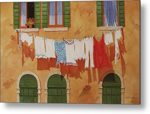 Venice Metal Print featuring the painting Venetian Washday by Mary Ellen Mueller Legault