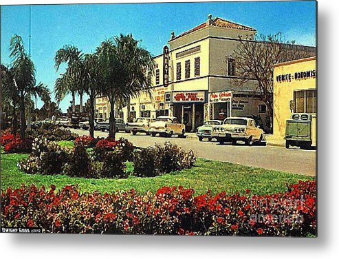 Theaters Metal Print featuring the painting Venice Theatre In Venice Fl 1950's by Dwight Goss