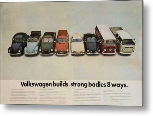 Vw Beetle Metal Print featuring the digital art Volkswagen Body Facts by Georgia Fowler
