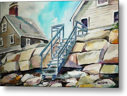 Wells Beach Metal Print featuring the painting Wells Beach Beach Stairs by Scott Nelson