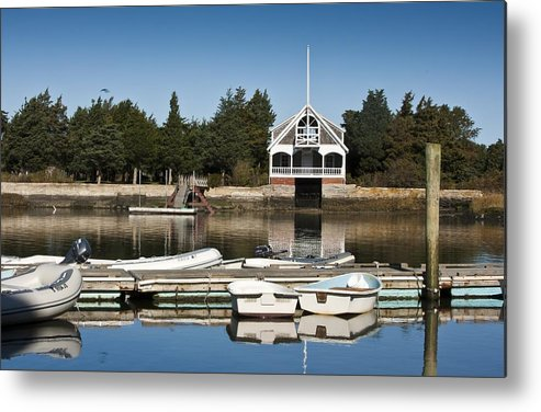 Boat Metal Print featuring the photograph West Falmouth Boat House by Dennis Coates