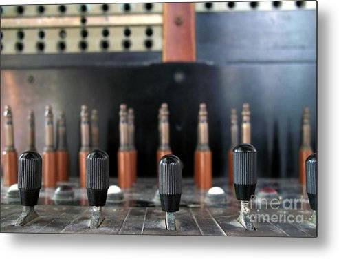 Vintage Metal Print featuring the photograph Vintage Telephone Switchboard by Yali Shi