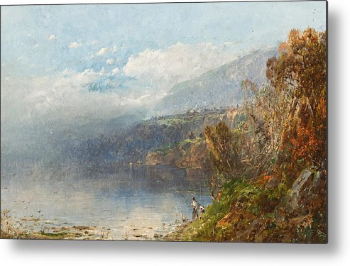 Autumn On The Androscoggin (oil On Canvas)fall; Seasons; Autumnal; River; North America; North American; Maine; New Hampshire; New England; Landscape; Mist; Misty; Wild; Wilderness; Remote; Male; Fisherman; Fishing; Solitary; Riverbank; Landscape Metal Print featuring the painting Autumn On The Androscoggin by William Sonntag