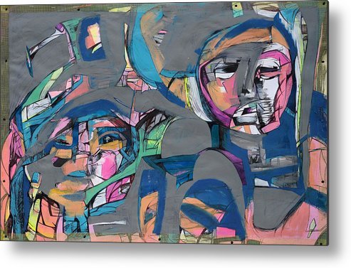 Abstract Metal Print featuring the painting Duo by Cat MT