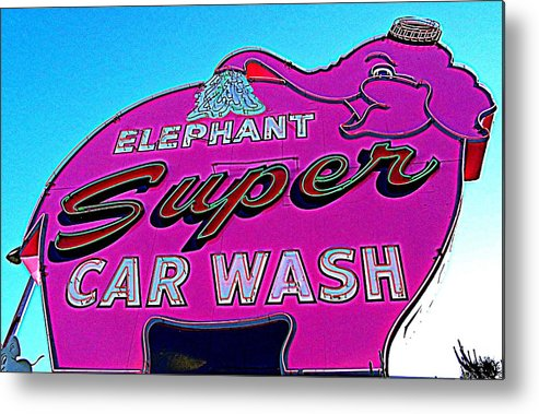 Elephant Car Wash Metal Print featuring the photograph Elephant Super Car Wash Boost by Randall Weidner