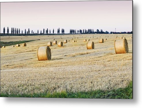 Horizontal Metal Print featuring the photograph Hay Bales by You find some of my photos on Getty Images.