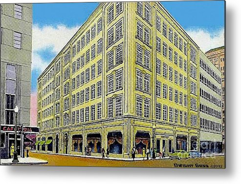 Department Stores Metal Print featuring the painting Neiman Marcus Department Store In Dallas Tx In The 1950's by Dwight Goss
